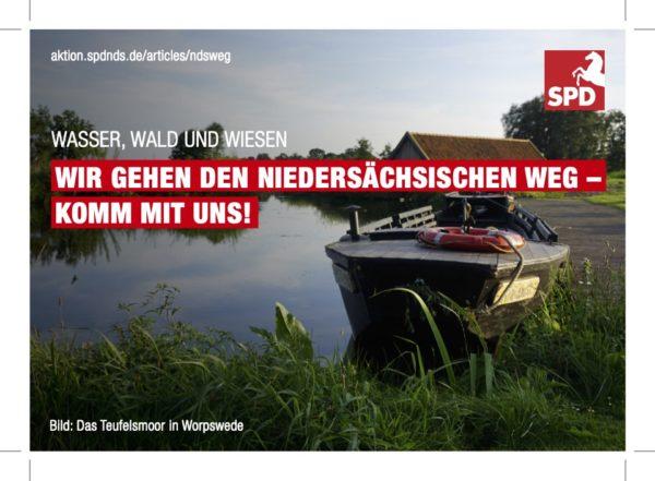 """A6 Postkarte """"Niedersächsicher Weg""""-Teufelsmoor"""